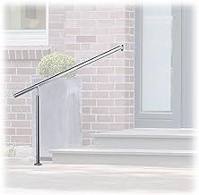Relaxdays, zilveren trapleuning roestvrij staal, voor binnen en buiten, 150 x 80 cm, met wandhouders + metalen pluggen, 15...