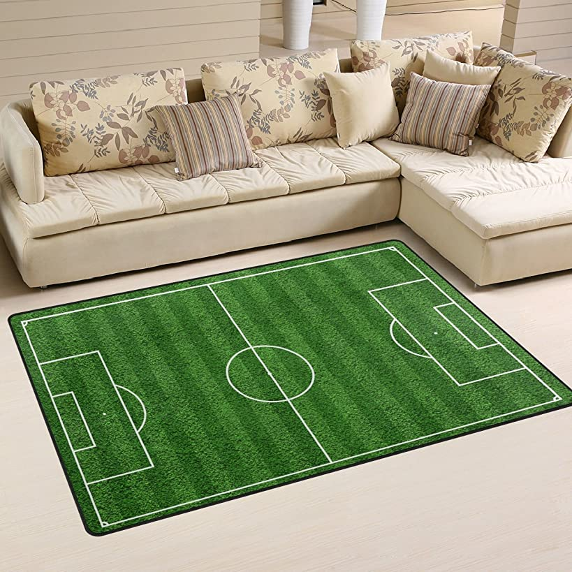 Sunlome Top View Of Soccer Field Football Field Pattern Area Rug Rugs Non-Slip Indoor Outdoor Floor Mat Doormats for Home Decor 31 x 20 Inches