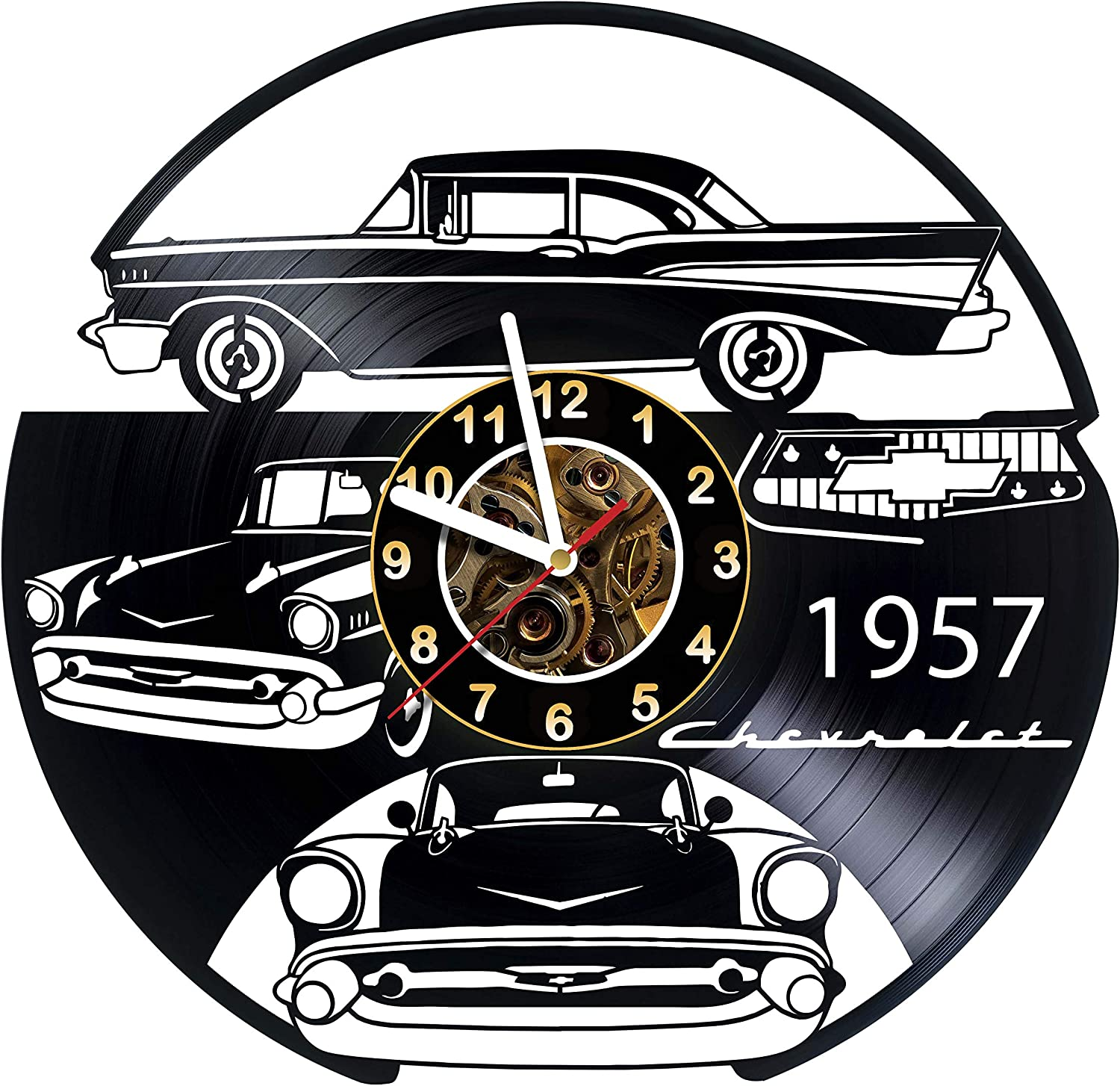 MZshop25 Vinyl Record Wall Clock Car Chevy Compatible Daily bargain sale Dealing full price reduction 1957 with