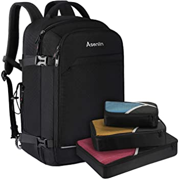 Asenlin 40L Travel Backpack ,17 Inch Laptop Backpack Flight Approved Luggage Carry On Water Resistant Computer Backpack for Weekender Overnight Large Daypack Black