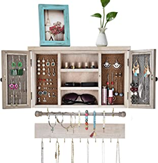 X-cosrack Rustic Hanging Jewelry Organizer,Wall Mounted Mesh Jewelry Holder,for Necklaces,Earings, Bracelets,Ring Holder,with Removable Bracelet Rod,Hooks,Wooden Barndoor Decor
