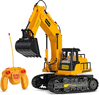 Remote Control RC Excavator Toy Truck with Flashing Lights and SFX - Includes Transmitter and Battery Charger  Battery Operated RC Toy Construction Vehicle for Kids with Cool Sound Effects   Lighting