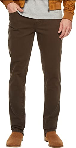 Slim Straight Stretch Denim Jeans in Black Olive
