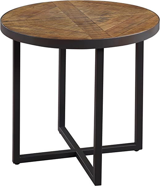 Emerald Home Denton Antique Pine End Table With Round Pieced Top And Metal Base
