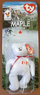 1 X TY Beanie Babies Maple the Bear Plush Toy Stuffed Animal McDonalds Collectible - White with Canadian Flag on Chest