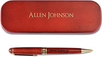 Personalized Engraved Maple Wood Rosewood Ball Pen & Case Set Custom Gift (Rosewood)