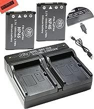 BM 2-Pack of NP-45 Batteries and Dual Charger for Fujifilm INSTAX Mini 90, FinePix XP130, XP140, XP150, XP50, XP60, XP70, XP80, XP90, T350 T360 T400 T500 T510 T550 T560 JX500 JX520 JX550 JX580 Cameras