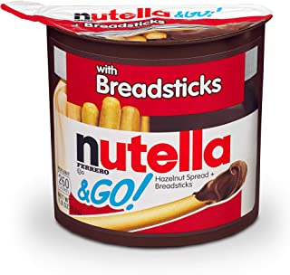 Nutella and Go Snack Packs, Chocolate Hazelnut Spread with Breadsticks, Perfect Bulk Snacks for Kids' Lunch Boxes, 1.8 Ounce, Pack of 12