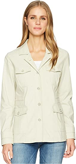 Cotton Stretch Poplin Long Sleeve Jacket with Pockets