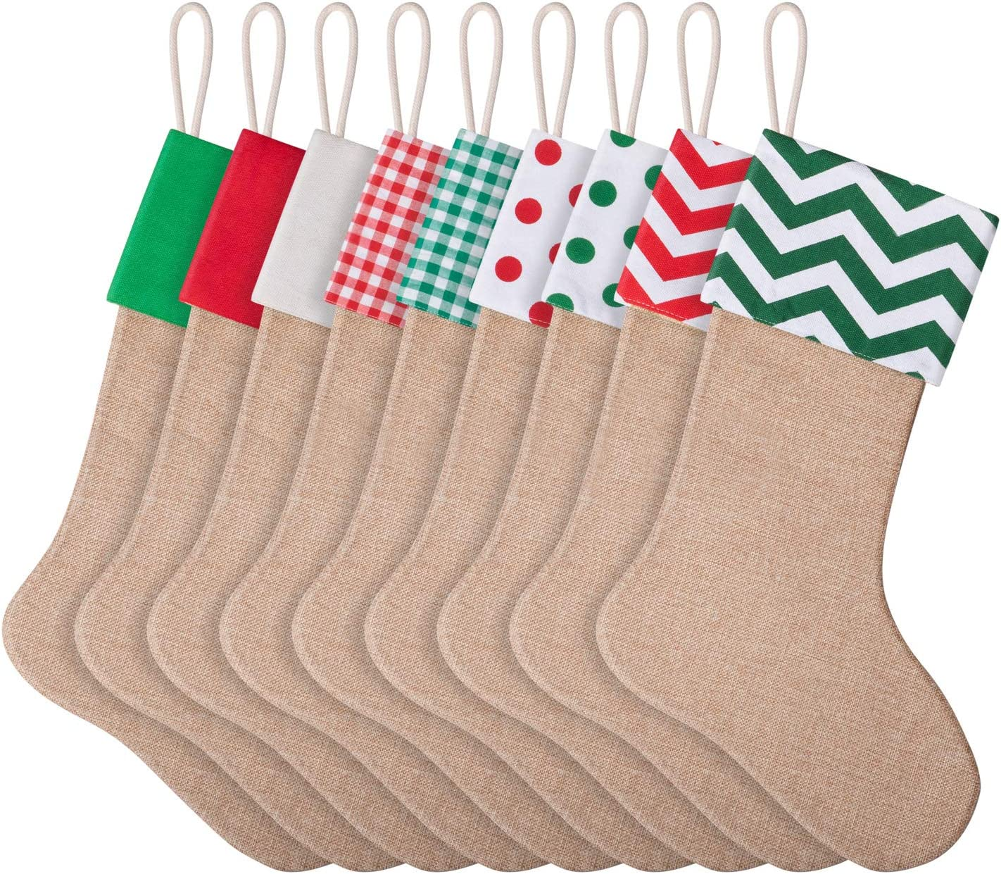 favide 9 Pieces Christmas Burlap Popular brand in Price reduction the world Xmas Stockings Fireplace Hangin