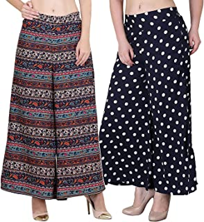 Fablab Women's Regular fit Multicolor Trouser Pant Palazzo with Pocket & Short Style Inner Lining Combo Pack of 2.
