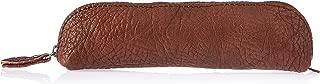Trifine Unisex Pebbled Leather Pencil Case, Brown, One Size