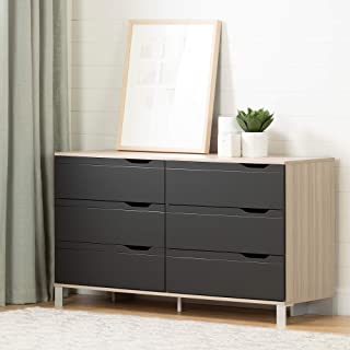 South Shore Kanagane 6-Drawer Double Dresser-Soft Elm and Matte Charcoal