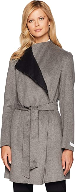 Fashion Double Faced Wool with Spread Collar Detail and Belt