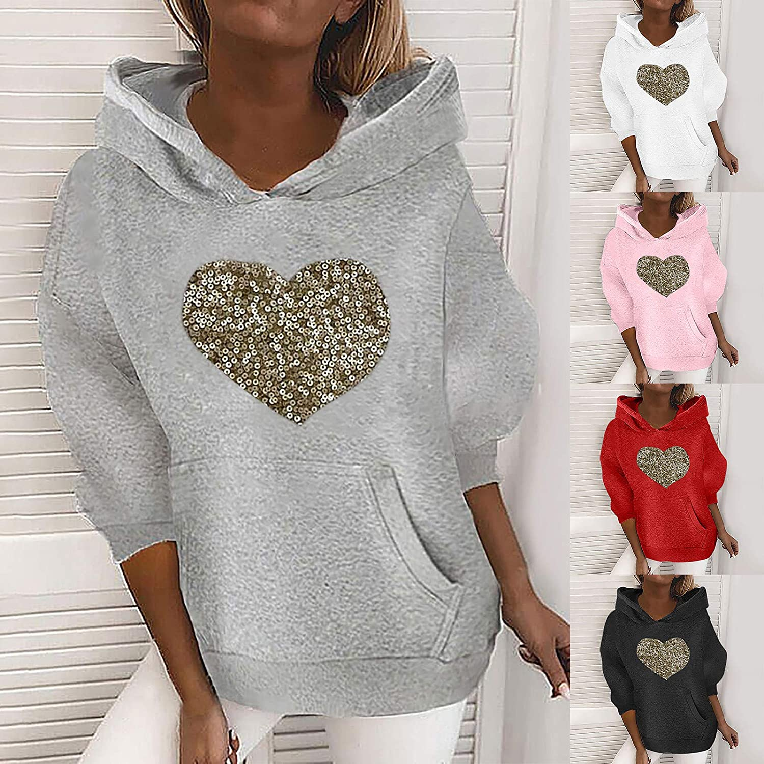 Womens Hoodie Sweatshirts Heart-Shaped Sequin Top Long-Sleeve Loose Sweater Stitching Pocket Casual Blouse