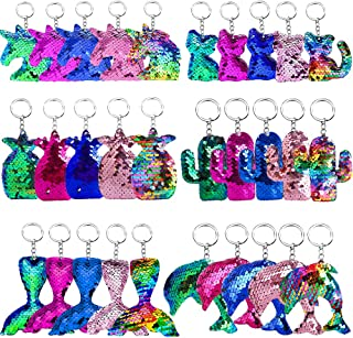Hicdaw Flip Sequin Keychains, 30PCS Keychain for Unicorn Mermaid Tail Cat Cactus Fish Shape Key Ring Bag Decorations Gift for Kid Party Supplies