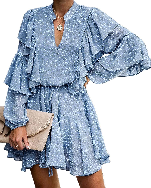 MITILLY Women's Split V Neck Ruffle Long Sleeve Polka Dot Casual Loose Swing Short Dress