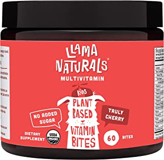 Llama Naturals Plant Based Vitamin Bites (Kids); Organic; No Added Sugar, Sweeteners or Synthetics; Vegan Multivitamin Gum...