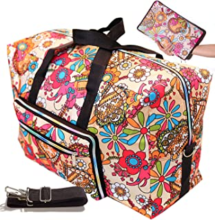 Travel Duffel Bag Foldable Floral Large Travel Bag Weekend Bag Checked Bag Luggage Tote (Sun Flower)