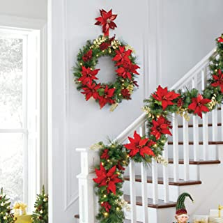 BrylaneHome Christmas Pre-Lit Poinsettia Wreath - Red