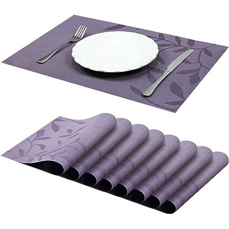 Jujin Lot de 8 Sets de Table antidérapant Lavable en PVC Résistant à la Chaleur Sets de Table pour Table de Salle à Manger Violet 45×30 cm