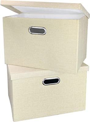 SUPPEL Collapsible Storage Bins(2-Pack), Clothes Storage Containers, Shelf Storage Bin, Closet Organizer Boxes, Organizers Baskets with Lid and Handle, 15.5x10.8x9.8 inch, Beige