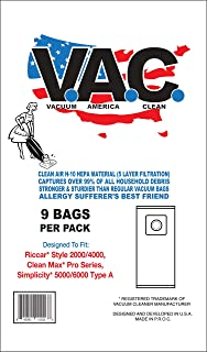 Vacuum America Clean Replacement for RICCAR Style 2000/4000, Clean Max Pro Series, Simplicity 5000/6000 Type A | 1 Pack of 9 HEPA Cloth Bags