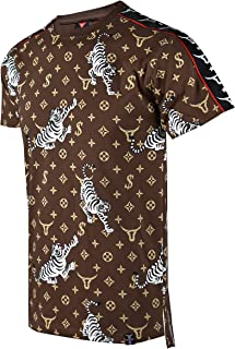 SCREENSHOTBRAND-730 Mens Hipster Hip-Hop Premium Tees - Stylish Longline Side Zipper Fashion T-Shirt