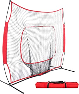 Fast 7' x 7' Baseball & Softball Practice Net w/Carry Bag & Metal Bow Frame for Hitting, Batting, Pitching, Throwing and Fielding
