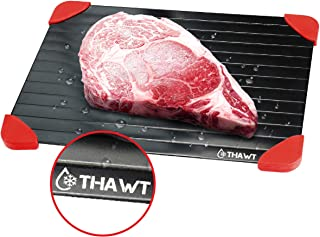 Thawt Defrosting Tray with Silicone Rapid Thaw Frozen Food Fast No Electricity, Battery, Microwave, Heating Pads, or Chemicals Safest Quickest Natural Eco Friendly to Defrost Meat Chicken, Vegetables