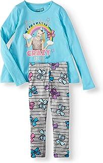 JoJo Siwa Girl's Rainbow Glitter Bows Long Sleeve Shirt and Legging Set