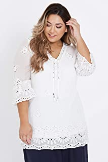 Beme 3/4 Sleeve Embroidered Ring Neck Tunic - Womens Plus Size Curvy
