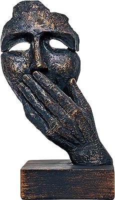 TIED RIBBONS Resin Human Face Showpiece, 23.2 X 10.8 X 10.8 cm, Grey Golden, 1 Piece