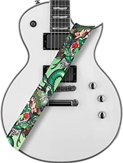 Amumu Dragon Girl Guitar Strap Green Polyester Cotton for Acoustic, Electric and Bass Guitars with Strap Blocks & Headstock Strap Tie - 2
