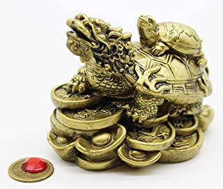 Mose Cafolo Feng Shui Dragon Turtle Wealth Protection Brass Statue Figurine Housewarming Congratulatory Paperweights Gift Home Decor