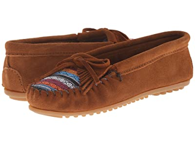 Minnetonka Kilty Suede Moc (Brown Suede/Arizona Fabric) Women