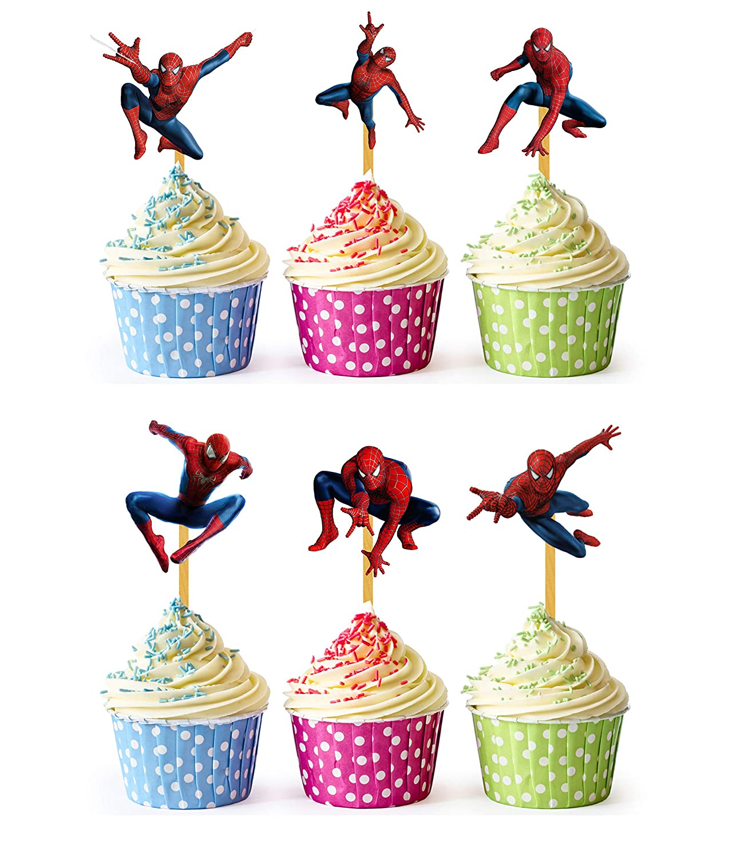 24x Cupcake Topper Picks (Spiderman)