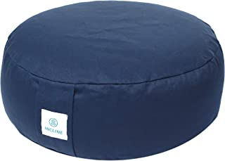 Incline Fit Zafu Yoga Meditation Cushion with Zipper, Round Meditation Pillow Bolster Filled with Buckwheat Hulls With Machine Washable Cotton Cover and Carry Handle, Round, Midnight Blue