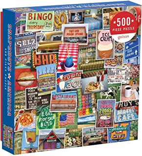 Galison Snapshots of America 500 Piece Jigsaw Puzzle for Families and Adults, USA Puzzle with Scenes from Life in America