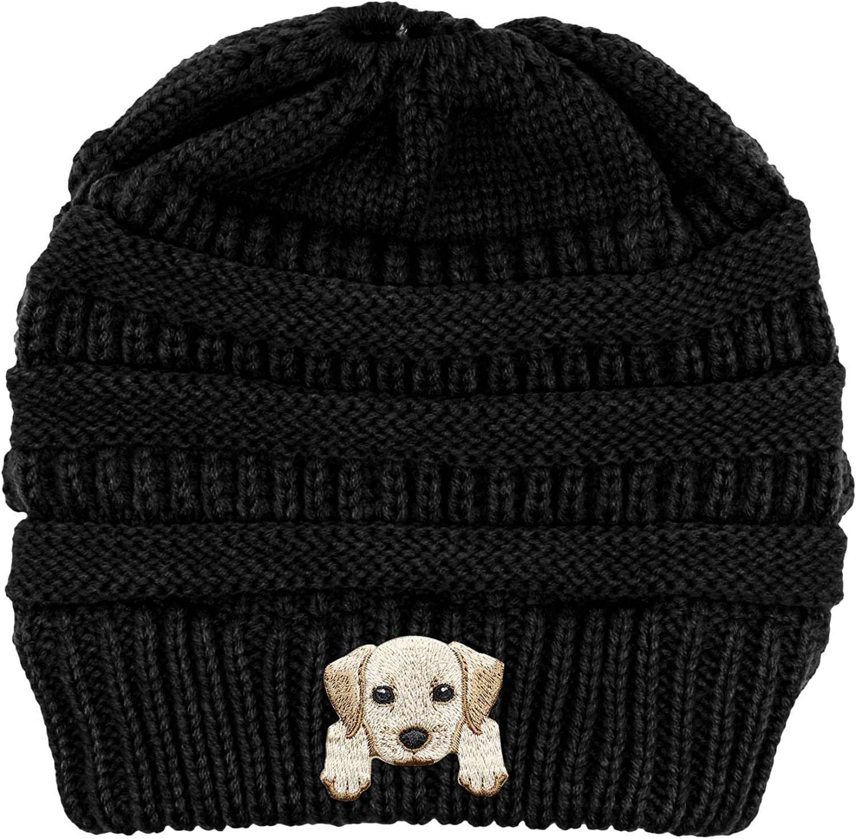 Lhotse Labrador Retriever Embroidered Puppy Dog Series Beanie  Stretch Fleece Cable Knit High Bun Ponytail Skullies Hat Cap  Black
