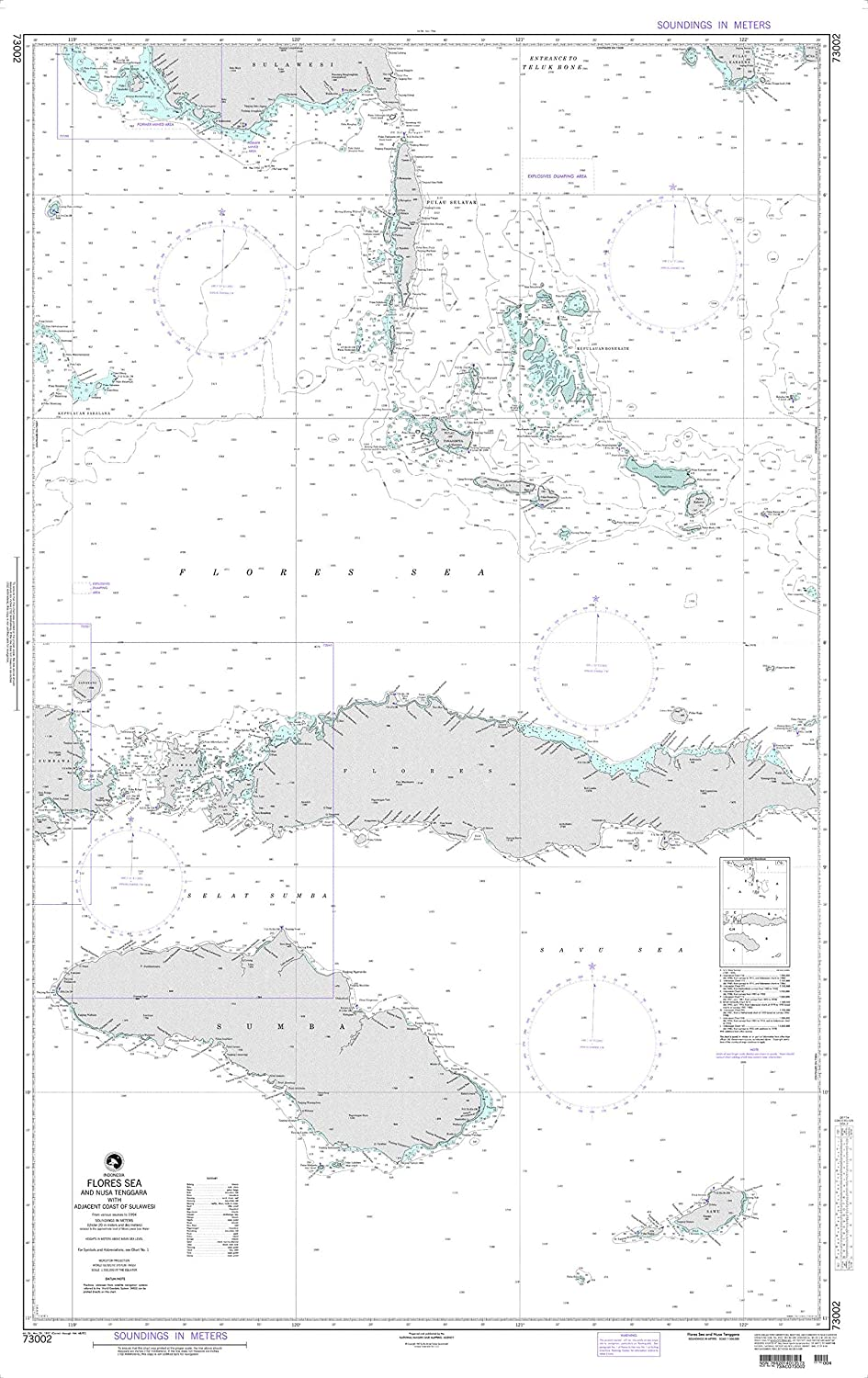 NGA Chart 73002 Flores Sea and Nusa Tenggara, Indonesia 34  x 54  Matte Plastic Map