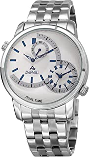 August Steiner Men's White Dial Stainless Steel Band Watch - As8210Ssbu, Silver Band, Analog Display