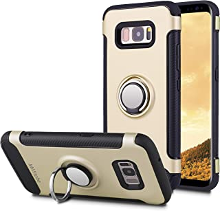 MAYtobe Galaxy S8 Case - Ultra Defender TPU + PC Shock Protective Ring Holder Case for Samsung Galaxy S8 (2017 Release) Work with Magnetic Car Mount 360 Rotating - Gold