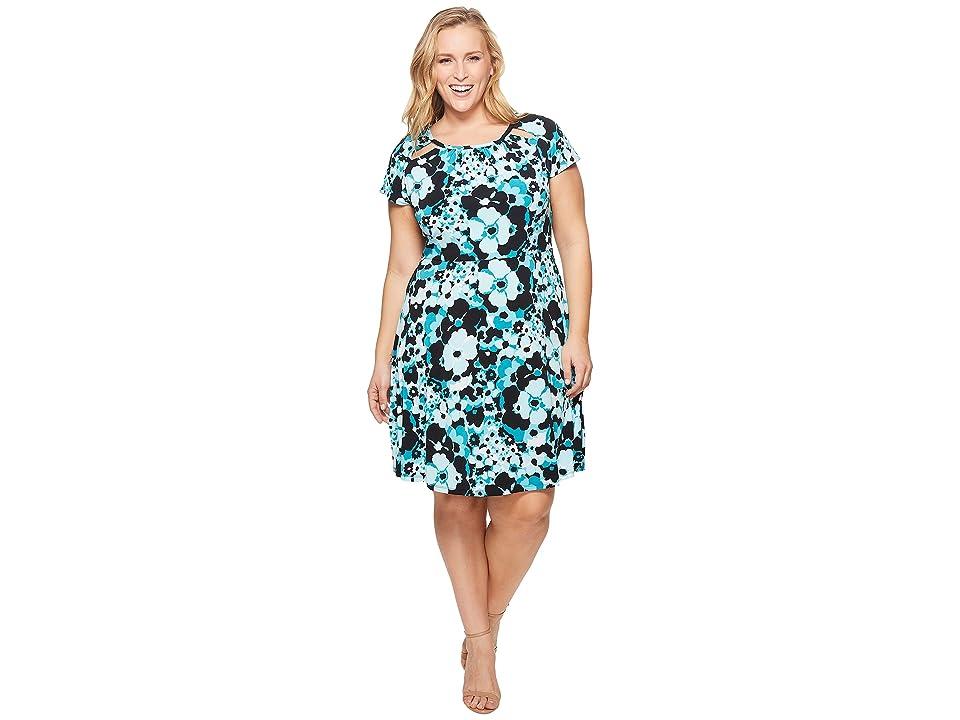 MICHAEL Michael Kors Plus Size Springtime Floral Dress (Tile Blue/Black Multi) Women