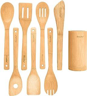 Ustensiles De Cuisine En Bois De Bambou – Set de 8 Accessoires de Cuisine (Raclette, Palettes, Cuillère, Spatule en Bois, ...