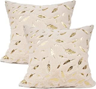 YOUR SMILE Pack of 2 Solid Color Gold Feather Plush Fur Decorative Throw Pillow Case Cushion Cover Pillowcase for Couch Sofa Bed,18 x 18 Inches,Ivory