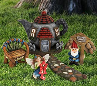 Fairy Garden Gnome Accessories Kit - Hand Painted Miniature Teapot Fairy House Figurine Set of 6 pcs, Indoor & Outdoor Holiday Christmas Ornaments Gift for Girls Boys Adults, Yard Lawn Decor