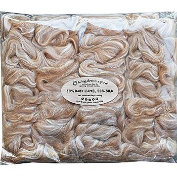 Blending Felting Soft /& Lofty Fiber Blend SHETLAND WOOL TUSSAH SILK Combed Top Roving for Spinning Natural Grey