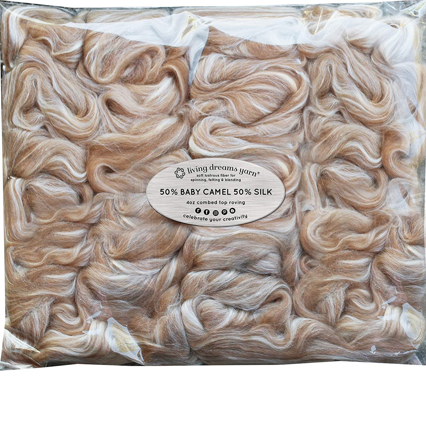 Baby Camel & TUSSAH Silk Fiber Blend. Luxuriously Soft Combed Top Wool Roving for Blending, Dyeing, Spinning & Felting