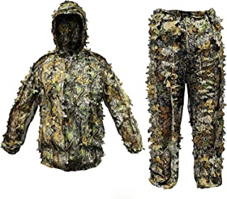 Feutav Ghillie Suit 3D Breathable Leaf Camo Suits Lightweight Camouflage Clothing for Jungle Hunting Shooting Airsoft Wildlife Photography Halloween